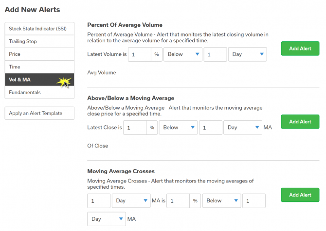 volume and moving average