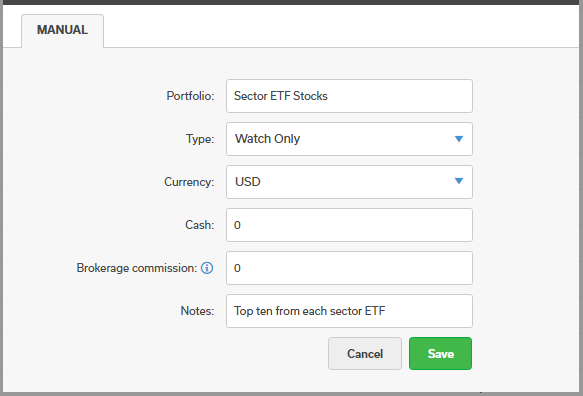 Creating a Watch Portfolio called Sector ETF Stocks