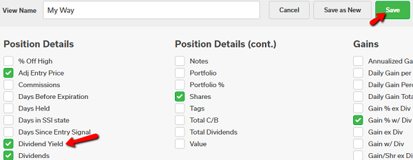 position view with dividends yield selected